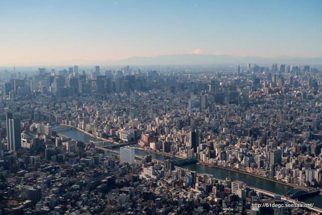 天望デッキから富士山を臨む
